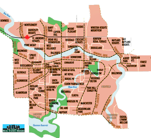 Inner City Calgary Real Estate Maps: Downtown Calgary Zone Maps, MLS on